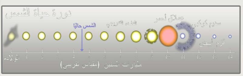 8 صورة تقريبية لدورة حياة الشمس