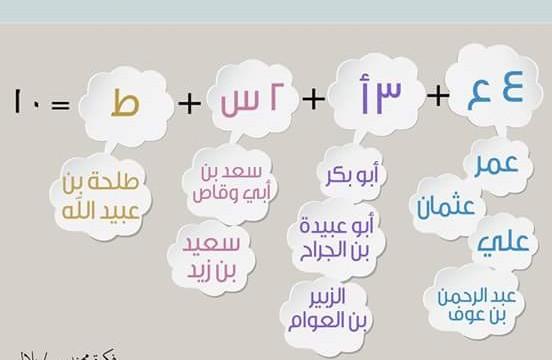 معادلة لحفظ العشرة المبشرين بالجنة